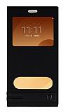 Samsung Galaxy C9 Pro Gizli Mıknatıslı Pencereli Siyah Deri Kılıf
