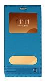 Samsung Galaxy C9 Pro Gizli Mıknatıslı Pencereli Mavi Deri Kılıf