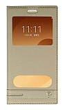 Samsung Galaxy C9 Pro Gizli Mıknatıslı Pencereli Gold Deri Kılıf