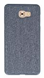 Samsung Galaxy C9 Pro Kumaş Görünümlü Gri Silikon Kılıf