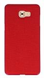 Samsung Galaxy C9 Pro Kumaş Görünümlü Kırmızı Silikon Kılıf