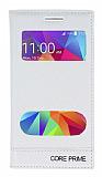 Samsung Galaxy Core Prime Gizli Mıknatıslı Çift Pencereli Beyaz Deri Kılıf
