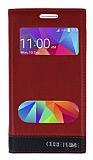 Samsung Galaxy Core Prime Gizli Mıknatıslı Çift Pencereli Bordo Deri Kılıf