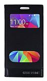 Samsung Galaxy Core Prime Gizli Mıknatıslı Çift Pencereli Siyah Deri Kılıf