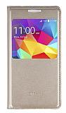 Samsung Galaxy Core Prime Pencereli İnce Kapaklı Gold Deri Kılıf
