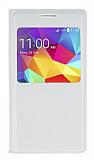 Samsung Galaxy Core Prime Pencereli İnce Kapaklı Beyaz Deri Kılıf