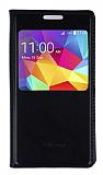 Samsung Galaxy Core Prime Pencereli İnce Kapaklı Siyah Deri Kılıf