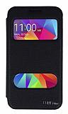 Eiroo Samsung Galaxy Core Prime Vantuzlu Pencereli Siyah Deri Kılıf