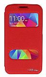 Eiroo Samsung Galaxy Core Prime Vantuzlu Pencereli Kırmızı Deri Kılıf