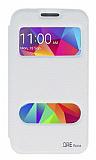 Eiroo Samsung Galaxy Core Prime Vantuzlu Pencereli Beyaz Deri Kılıf