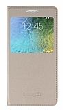 Samsung Galaxy E5 Pencereli İnce Kapaklı Gold Kılıf