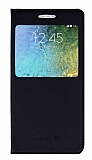 Samsung Galaxy E5 Pencereli İnce Kapaklı Siyah Kılıf