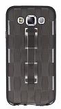 Samsung Galaxy E5 Selfie Yüzüklü Ekose Şeffaf Siyah Silikon Kılıf