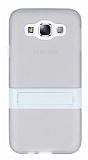 Samsung Galaxy E5 Standlı Şeffaf Beyaz Silikon Kılıf