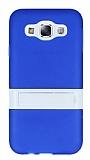 Samsung Galaxy E5 Standl� �effaf Mavi Silikon K�l�f