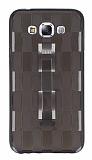 Samsung Galaxy E7 Selfie Yüzüklü Ekose Şeffaf Siyah Silikon Kılıf