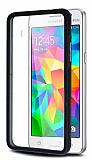 Samsung Galaxy Grand Prime Siyah Metal Kenarl� Kristal K�l�f