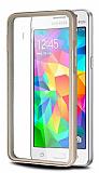 Samsung Galaxy Grand Prime / Prime Plus Gold Metal Kenarlı Kristal Kılıf