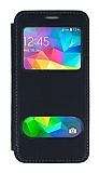 Samsung Galaxy Grand Prime / Prime Plus Çift Pencereli Kapaklı Siyah Kılıf