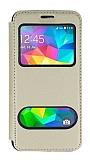 Samsung Galaxy Grand Prime / Prime Plus Çift Pencereli Kapaklı Gold Kılıf