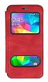 Samsung Galaxy Grand Prime / Prime Plus Çift Pencereli Kapaklı Kırmızı Kılıf