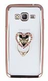 Samsung Galaxy Grand Prime Taşlı Selfie Yüzüklü Rose Gold Silikon Kılıf