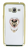 Samsung Galaxy Grand Prime Taşlı Selfie Yüzüklü Gold Silikon Kılıf