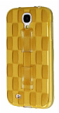 Samsung Galaxy i9500 S4 Selfie Yüzüklü Ekose Şeffaf Gold Silikon Kılıf