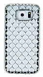 Samsung Galaxy i9800 S6 Diamond Silver Kenarlı Şeffaf Silikon Kılıf