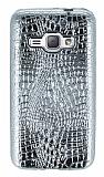 Samsung Galaxy J1 2016 Deri Desenli Parlak Silver Silikon Kılıf