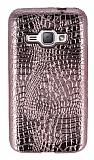 Samsung Galaxy J1 2016 Deri Desenli Parlak Rose Gold Silikon Kılıf