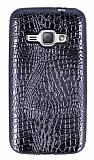 Samsung Galaxy J1 2016 Deri Desenli Parlak Siyah Silikon Kılıf