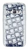 Samsung Galaxy J1 2016 Kare Desenli Silver Silikon Kılıf