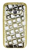 Samsung Galaxy J1 2016 Kare Desenli Gold Silikon Kılıf