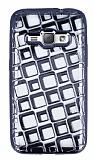 Samsung Galaxy J1 2016 Kare Desenli Siyah Silikon Kılıf