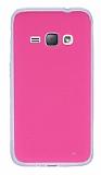 Samsung Galaxy J1 2016 Şeffaf Kenarlı Pembe Silikon Kılıf