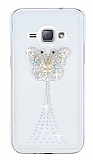 Samsung Galaxy J1 2016 Taşlı Kelebek Şeffaf Silikon Kılıf