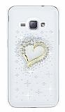Samsung Galaxy J1 2016 Taşlı Kalp Şeffaf Silikon Kılıf