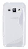 Samsung Galaxy J1 Desenli Şeffaf Beyaz Silikon Kılıf