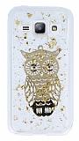 Samsung Galaxy J1 Işıltılı Baykuş Şeffaf Silikon Kılıf
