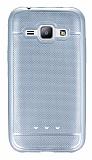 Samsung Galaxy J1 Metalik Noktal� Silver Silikon K�l�f
