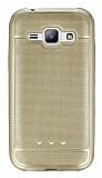 Samsung Galaxy J1 Metalik Noktalı Gold Silikon Kılıf