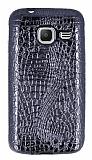 Samsung Galaxy J1 mini Deri Desenli Parlak Siyah Silikon Kılıf