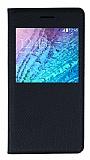 Samsung Galaxy J1 Pencereli İnce Kapaklı Siyah Kılıf