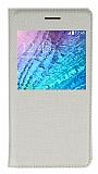 Samsung Galaxy J1 Pencereli İnce Kapaklı Gold Kılıf
