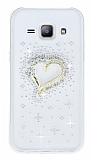Samsung Galaxy J1 Taşlı Kalp Şeffaf Silikon Kılıf