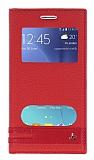 Samsung Galaxy J2 Çift Pencereli İnce Kapaklı Kırmızı Kılıf