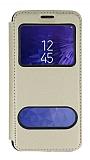Samsung Galaxy J2 Çift Pencereli Kapaklı Gold Kılıf