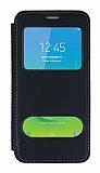 Samsung Galaxy J2 Core Çift Pencereli Kapaklı Siyah Kılıf