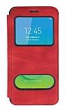 Samsung Galaxy J2 Core Çift Pencereli Kapaklı Kırmızı Kılıf